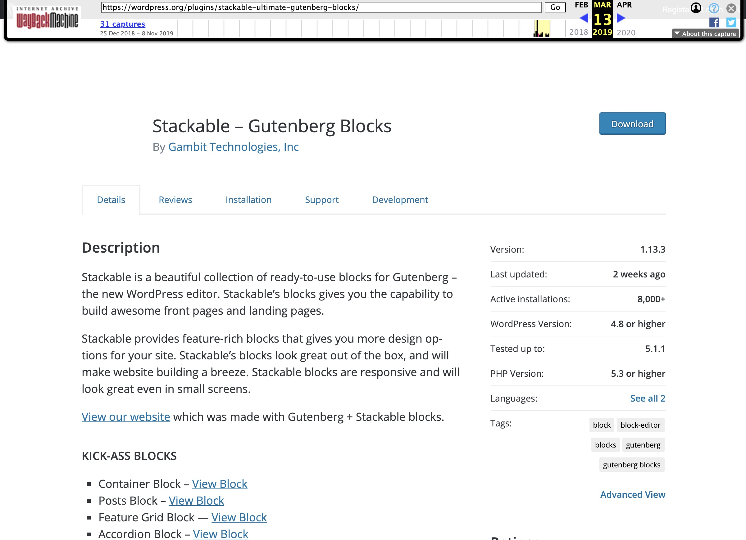 Internet Archive Wayback Machine of Stackable